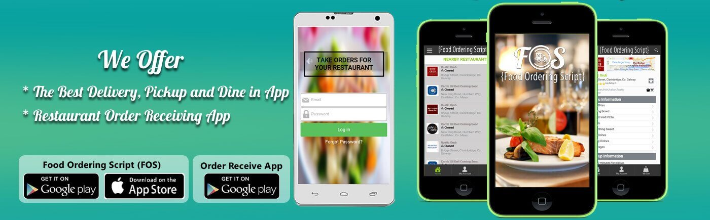 We offer iOS and Android Application for Customer and Order Receiving Application for Restaurant Owner
